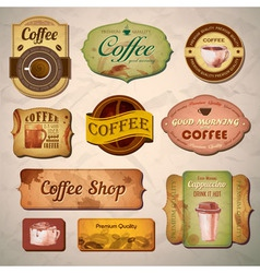 Set of vintage decorative coffee labels vector image vector image