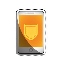 smartphone shield security vector image vector image