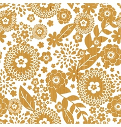 Textured wooden flowers seamless pattern vector image vector image
