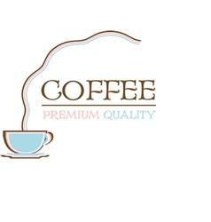 Coffee logo premium quality retro design vector image