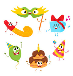 cute and funny birthday item characters with vector image vector image