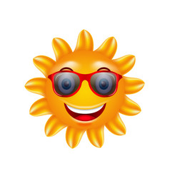 funny face of summer sun with sunglasses vector image