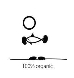 holding fish organic vector image vector image