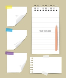 Note book and note papers with pencil Business vector image vector image