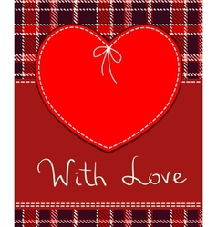 red heart textile label vector image