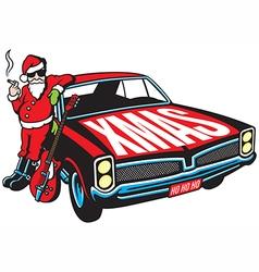 Rock and Roll Santa Claus design vector image