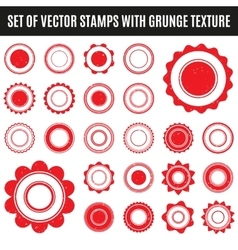 Set of red grunge stamp round shapes vector