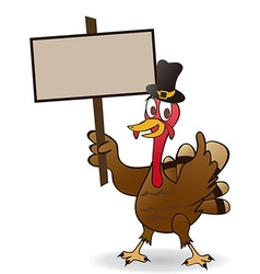 thanksgiving turkey Holding A Blank Sign vector image