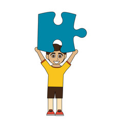 colorful caricature boy with blue puzzle piece up vector image