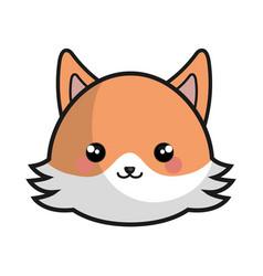 cute fox kawaii style vector image vector image