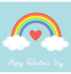 Happy Valentines Day Love card Red heart Rainbow vector image vector image