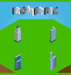 Isometric construction set of building tower vector