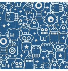 Seamless texture with nano robots in retro style vector image vector image
