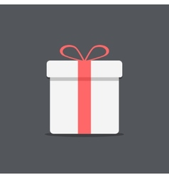 white gift box icon on dark background vector image vector image