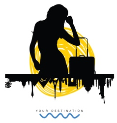 ancient monument travel with girl silhouette vector image vector image