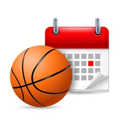 Basketball and calendar vector image vector image