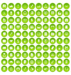 100 office icons set green circle vector