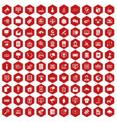 100 telecommunication icons hexagon red vector