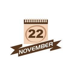 22 november calendar with ribbon vector