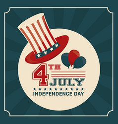 4th july independence day card hat balloons vector image