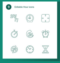 9 hour icons vector
