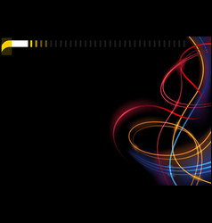 abstract colorful glowing lines on black backgroun vector image