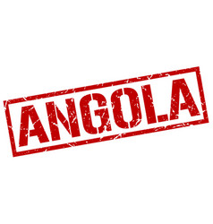 Angola red square stamp vector