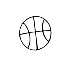 basketball ball icon in doodle style isolated on vector image