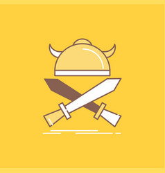 battle emblem viking warrior swords flat line vector image