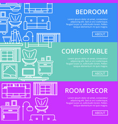 Bedroom modern decor linear poster set vector