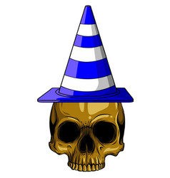 blue cone hat with skull vector image