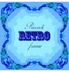 Blue frame with painted peacocks and retro label vector