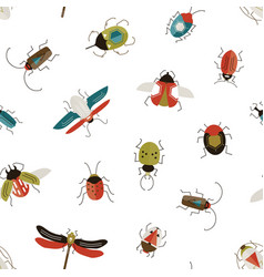 Bugs and beetles seamless pattern insects vector