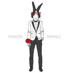 bunny dressed up in tuxedo vector image