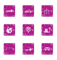 cargo transportation icons set grunge style vector image