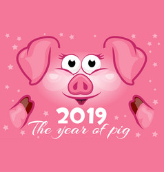 cartoon greeting banner in the year of the pig vector image