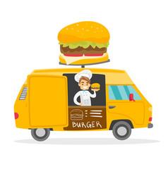 Caucasian white street seller selling burgers vector