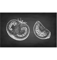 chalk sketch of tomatoes vector image