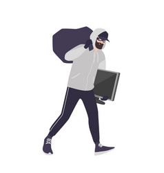cheerful male thief wearing mask cap and hoodie vector image