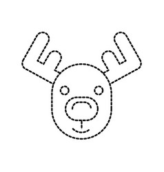 christmas reindeer horned animal decoration vector image