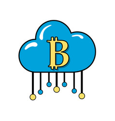 cloud data center with bicoin symbol vector image