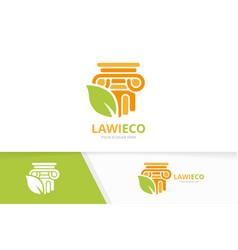 column and leaf logo combination pillar vector image
