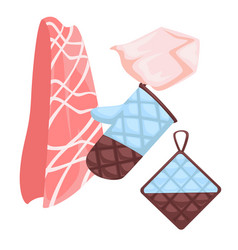 cotton potholder bbq glove and towel isolated vector image