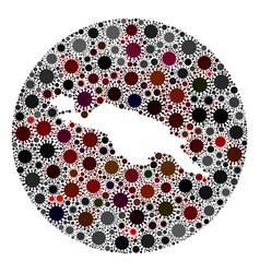 covid19 virus hole round new guinea map mosaic vector image