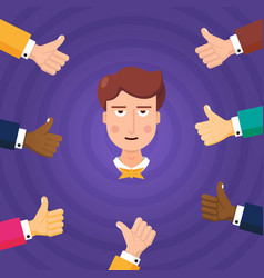 crop thumbs up approving young employee vector image