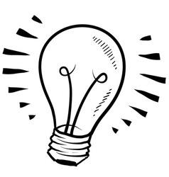Doodle lightbulb light cute vector