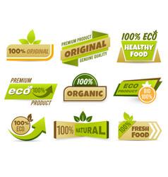eco label banner healthy food labels eco bio vector image
