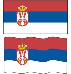Flat and waving Serbian Flag vector