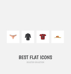 Flat icon clothes set of uniform elegant headgear vector