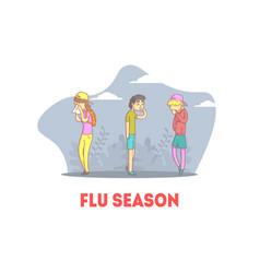 Flu season banner people feeling unwell teenage vector